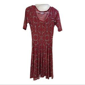 LuLaRoe Nicole Red & LT Blue Print Dress Size XS
